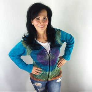 Tops - Boho Teal Embroidered Circular Pattern Hoodie S/M